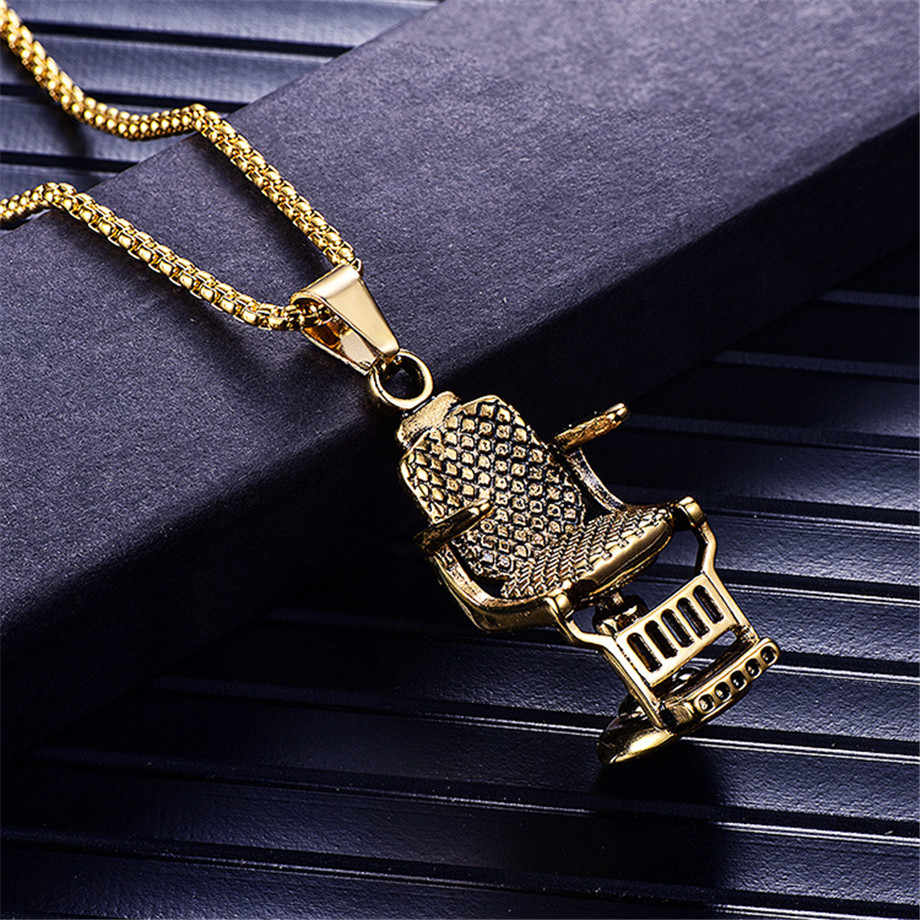 Fashion Silver/Gold Color Barber Shop Barber's Chair Seat Necklace Pendant Jewelry Long Chain Hip Hop Men Necklace