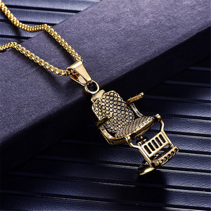 Fashion Gold Silver Color Barber Shop Barber's Chair Seat Necklace Pendant Jewelry Long Chain Hip Hop Men Necklace