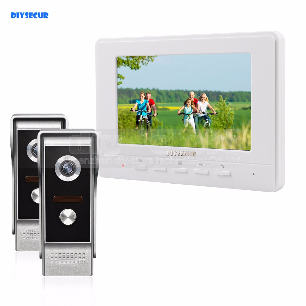 DIYSECUR 7inch Video Intercom Video Door Phone 700TV Line IR Night Vision Outdoor Camera for Home / Office Security System 2V1