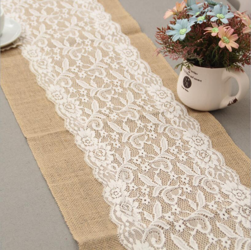 wedding party lace vintage jute table runner burlap fabric for burlap chair sashes burlap ribbon. Black Bedroom Furniture Sets. Home Design Ideas