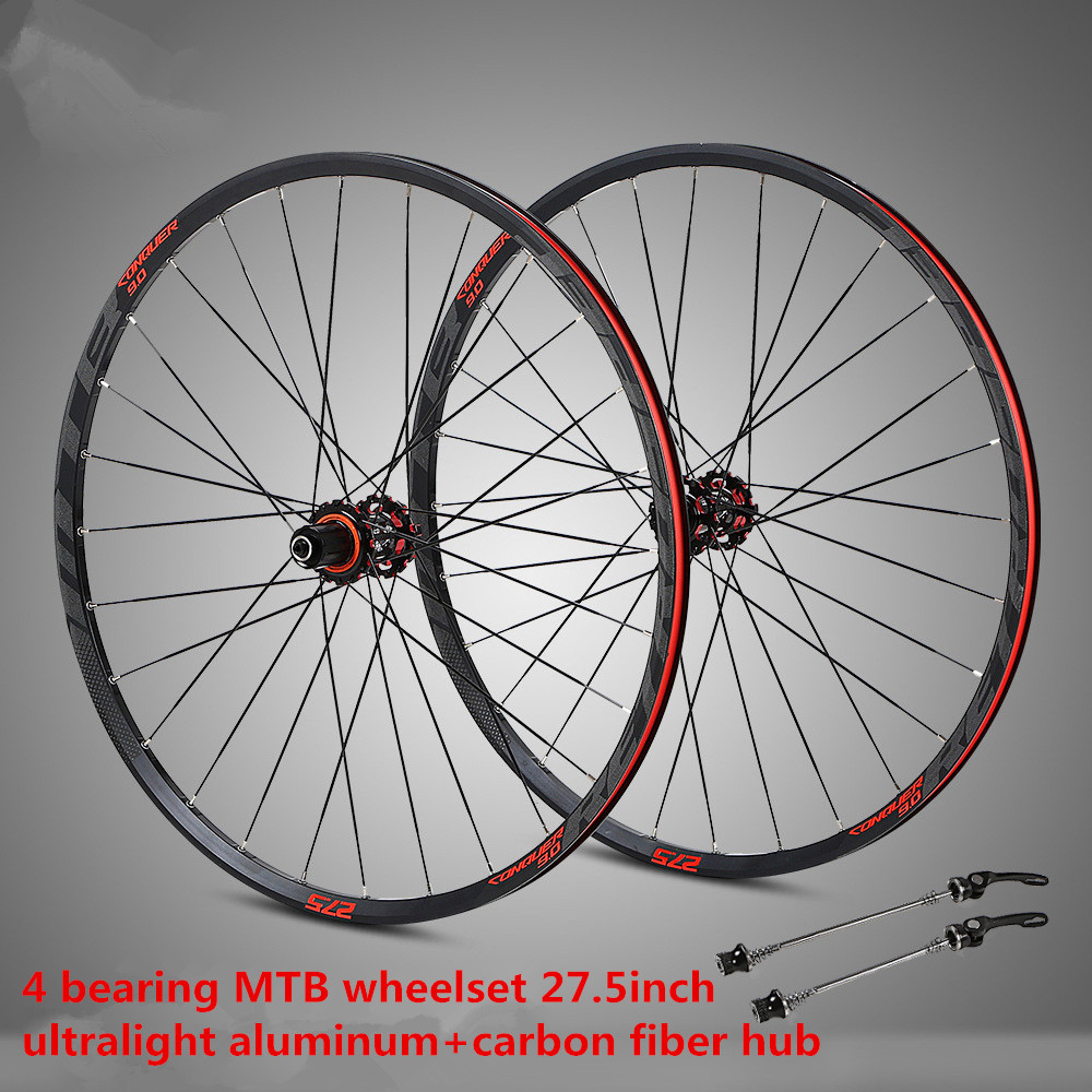 STK275 Aluminum alloy 27 5inch wheelset mountain bike rim sealed bearing carbon fiber hub with anti