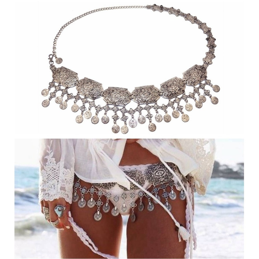 Vintage Silver Plated Coin Tassels Belly Body Chain Waist Turkish Gypsy Carving Flower Beach Metal Belt Body Jewelry for Women gypsy indian luxury gold metal bra mesh hollow flower piercing body chain waistcoat tassel coin harness body jewelry women man