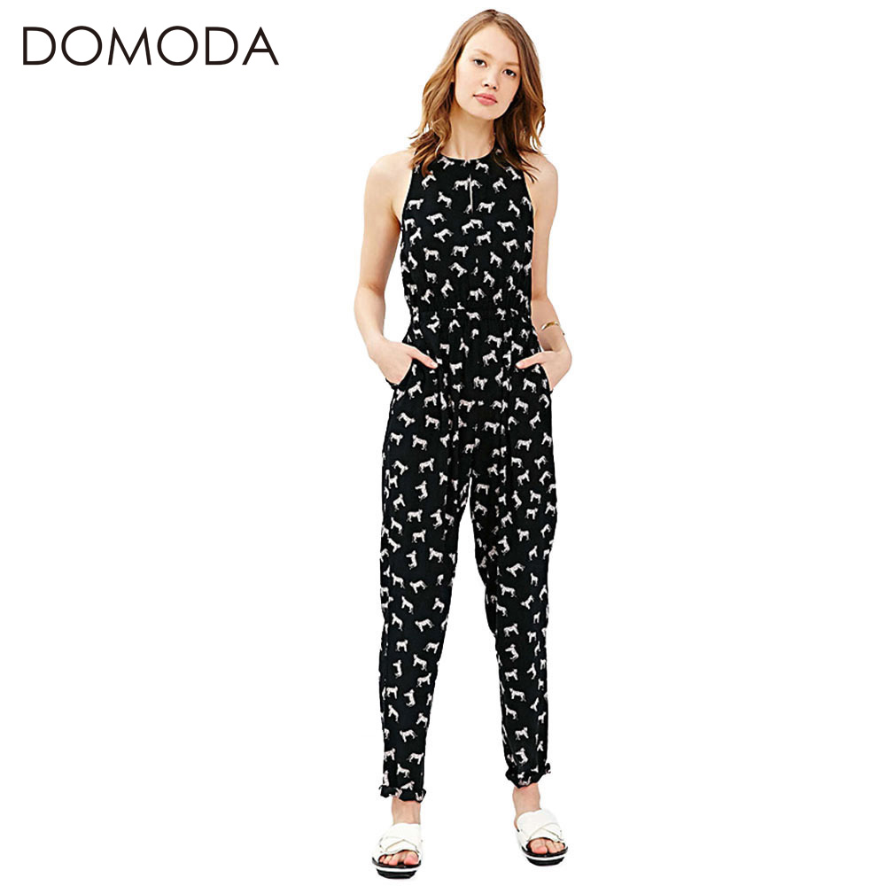 f06f78b446 DOMODA 2017 Printed Casual Jumpsuit Women Contrast High Waist Leisure romper  Basic Casual Slim Streetwear Jumpsuits Female-in Jumpsuits from Women s ...