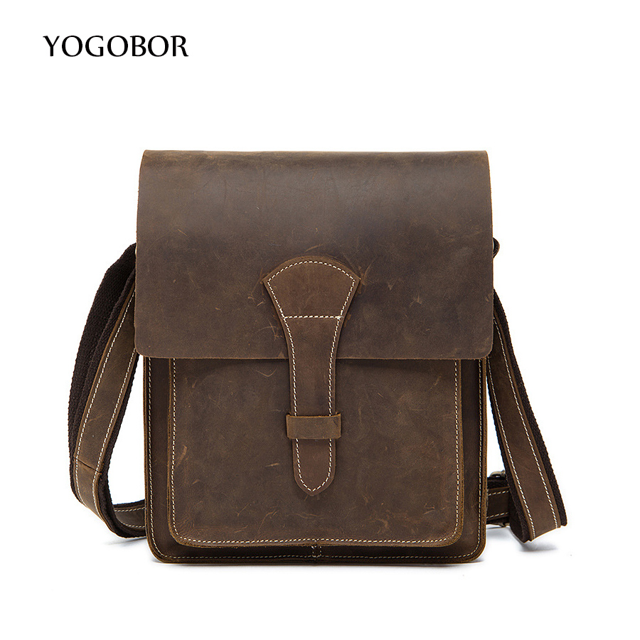 ФОТО Vintage Retro Casual 100% Genuine Leather Crazy Horse Cowhide Men Bags Pack Small Shoulder Messenger Bags For Man Crossbody Bag