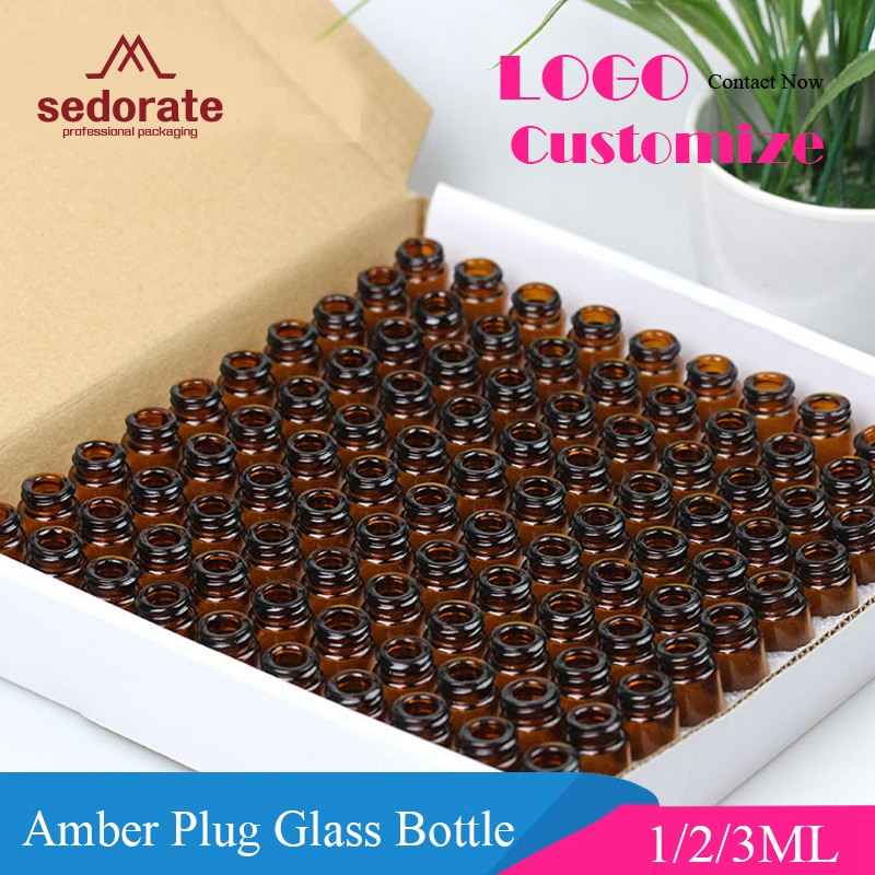 Sedorate 100 Pcs/Lot Amber Glass Bottle With Inne Plug Mini Glass Vial 1ML 2ML 3ML Essential Oil Bottle Containers LZ020