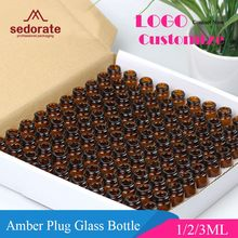 Sedorate frasco de vidro 100 âmbar, com plugue insecante vidro mini frasco de vidro 1ml 2ml 3ml óleo essencial recipientes de garrafa lz020
