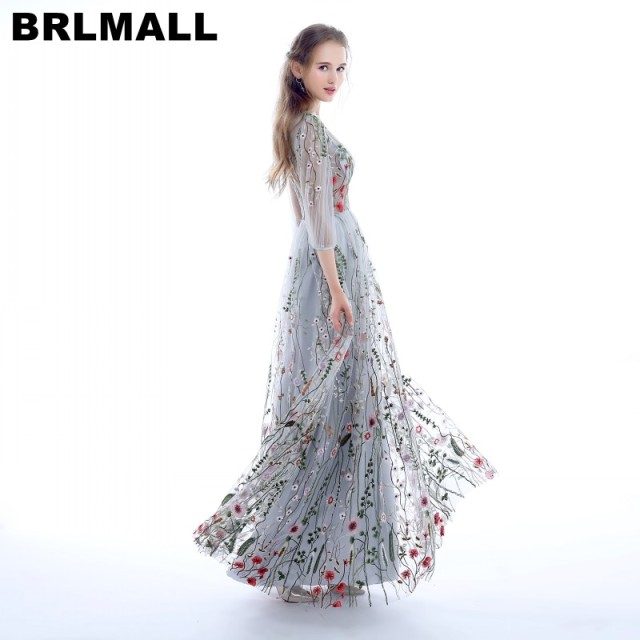 BRLMALL Fashion 3/4 Sleeves Prom Dresses 2017 Trendy Floral ...