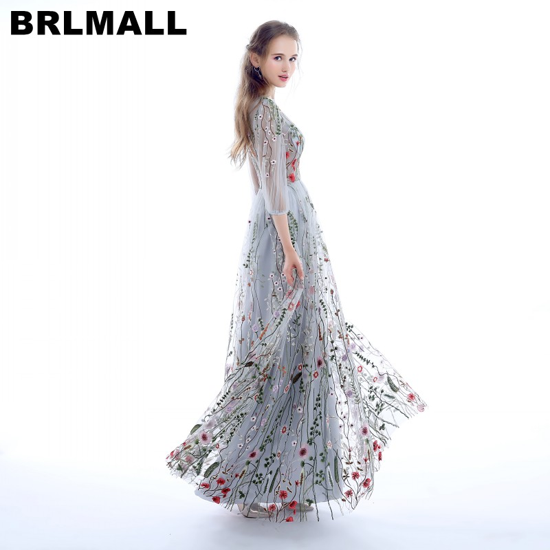 BRLMALL Fashion 3/4 Sleeves   Prom     Dresses   2017 Trendy Floral Embroidery A-line Evening   Dresses   Formal Party Gowns Pageant   Dress