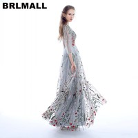 BRLMALL Thời Trang 3/4 Sleeves Prom Dresses 2017 Trendy Floral Thêu A-Line Evening Dresses Formal Đảng Gowns Pageant Dress