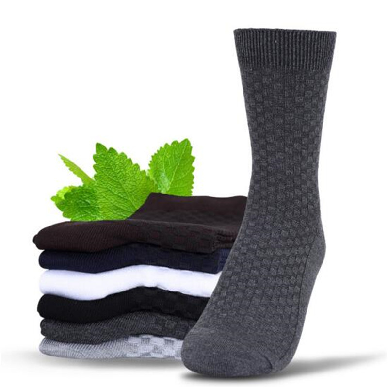 Soft Fresh Style Men Bamboo Business Socks Cotton Anti-Bacterial Breathable Sweat Absorption Deodorant Socks Middle Long Sock