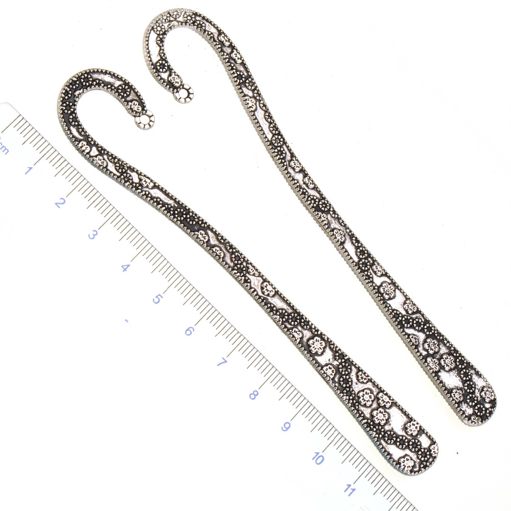 Bookmark Office Supplies Stationery DIY Crafts Jewelry Part Large Silver Flower Metal Tab For Book Page Marker Kawaii 119mm 5pcs
