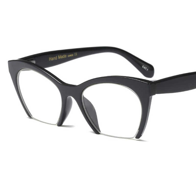 0de7661b4c5f ... Vintage Cat Eye Glasses Clear Lens Retro 60s Womens Black Frame semi  rimless transparent cateye glasses ...
