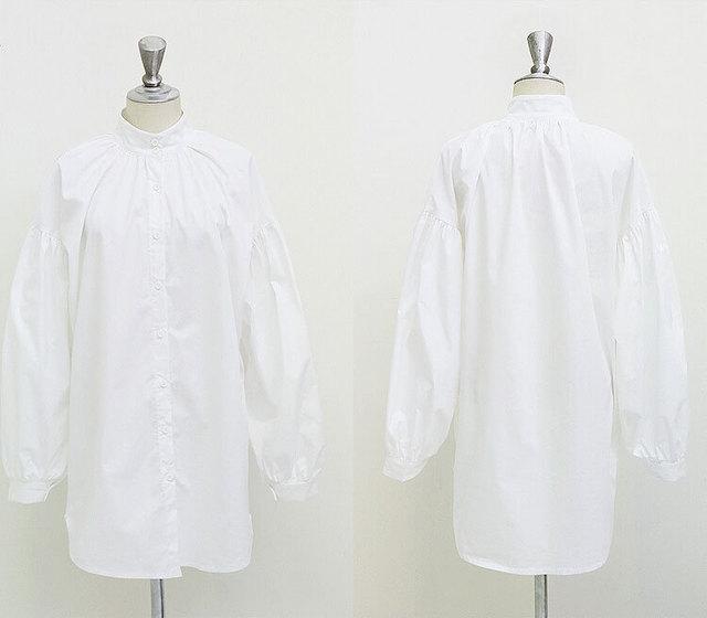 Women's Cotton Blouse with Lantern Sleeves