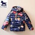 2015 Niñas de Invierno Chaqueta de la Capa de Los Niños Impresos chaquetas para bebés ropa para niños Chicas Parkas y Abrigos para 2-10Y