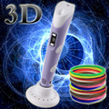 DIY 1.75mm ABS/PLA 3D Printing Pen LED/LCD 3D Pen Painting Pen+Filament+Adapter Creative Toys Gift For Kid Child Design Drawing