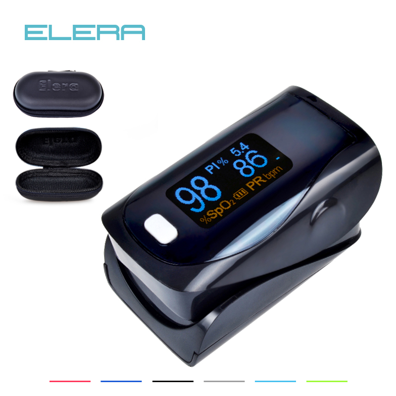 ELERA CE Approved Brightness Ajustable OLED Digital finger pulse oximeter SPO2 PR PI Indicator Alarm setting