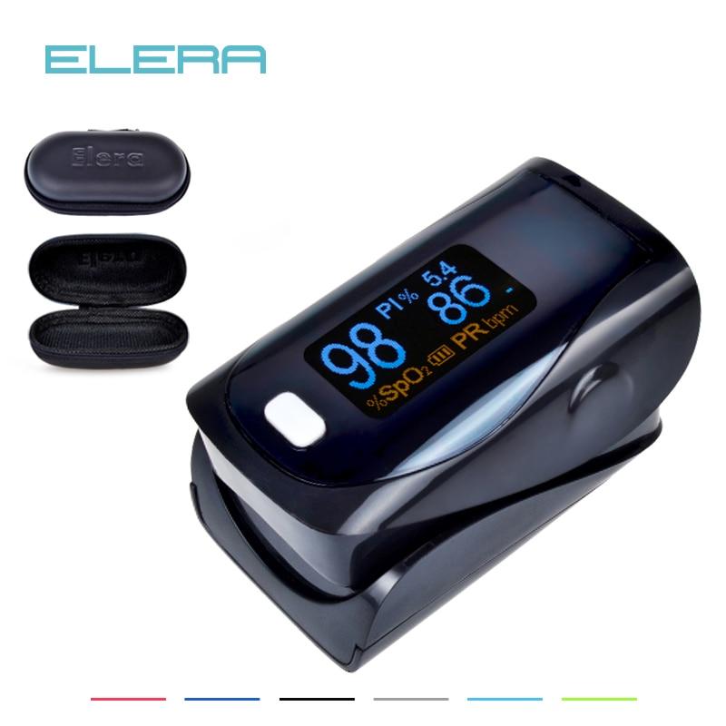 ELERA CE Approved Brightness Ajustable OLED Digital finger pulse oximeter SPO2 PR PI Indicator Alarm setting With Carrying Case