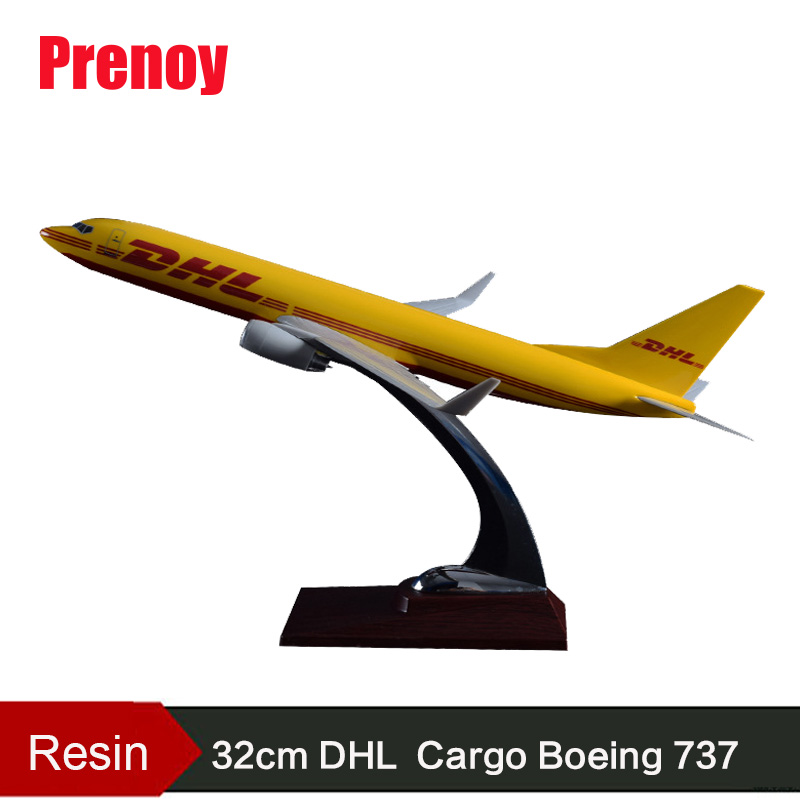 32cm Resin Boeing 737 DHL Aircraft Model Airplane DHL Express Cargo Airways Model B737 International Airbus Plane Model Toy Gift geminijets gjdlh1326 b737 300 d abee 1 400 lufthansa commercial jetliners plane model hobby