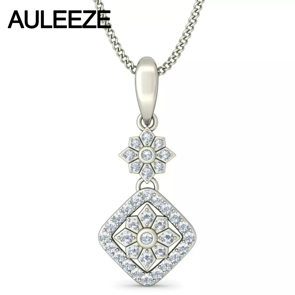 Solid 14K 585 White Gold Pendant Halo Flower Shape Real Natural Diamonds Pendant Necklace For Women, 18' Chain Diamond Jewelry
