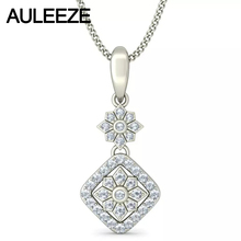 Solid 14K 585 White Gold Pendant Halo Flower Shape Real Natural Diamonds Pendant Necklace For Women, 18′ Chain Diamond Jewelry