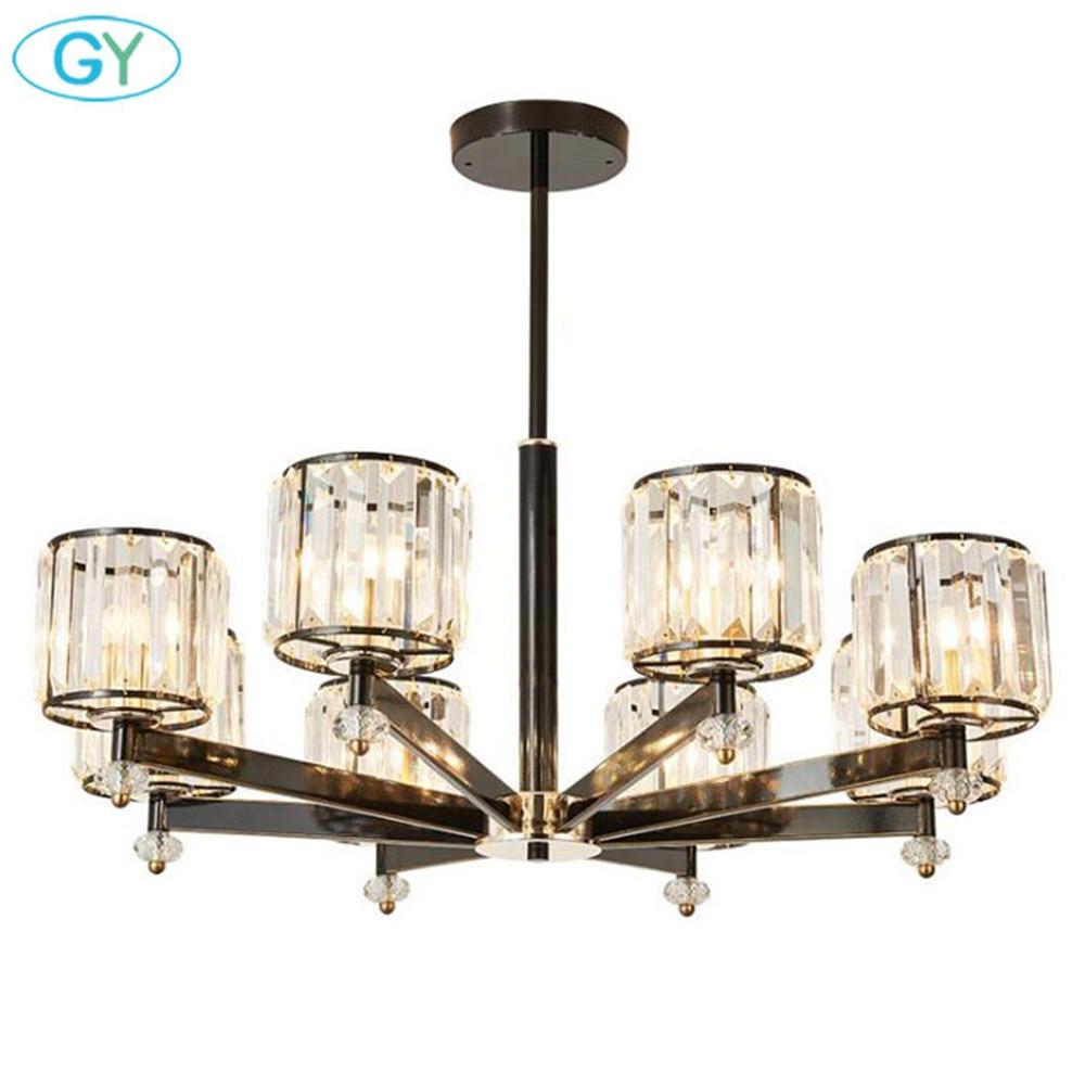 3 6 8 metal crystal chandelier modern black chandelier ceiling pendant lighting fixture nordic postmodern style hanging lamp