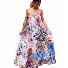 2019 New Fashion Summer Casual Sexy Halter Dress Fashion Flower Print Sun Women's Beach Pleated Maxi Long Dresses S M L sun flower print pleated dress