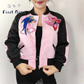Autumn Bomber Jacket Women 2016 New Fashion Bird Embroidery Black Pink Zipper Short Pilot Jacket Coat Slim Stand Collar Outwear