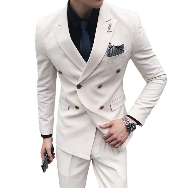 Double-breasted Mens Suits Set Slim Fit Business Costumes Homme pure color Formal White Male Prom Suits Gentleman Black Tuxedo