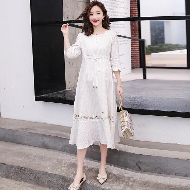 568 # белое вышитое хлопковое длинное платье для беременных весенне-летняя модная одежда для беременных женщин Элегантные галстуки на талии ...
