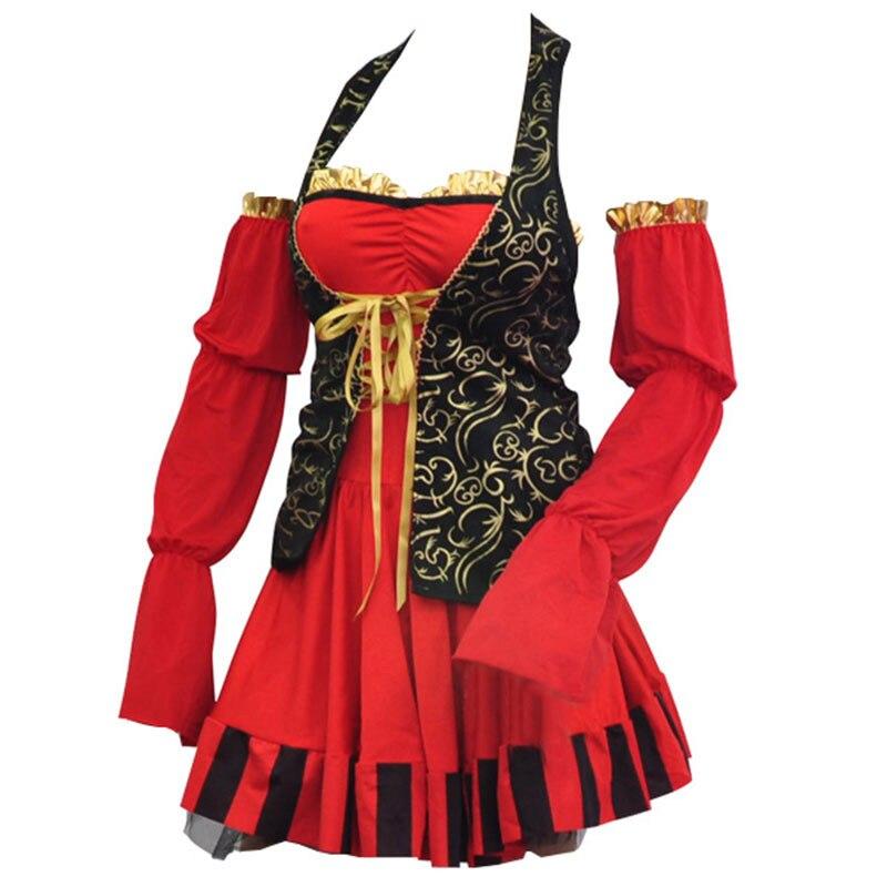Womens Pirate Skirt Red Black Ruffle Gold Buckle Fancy Dress Halloween