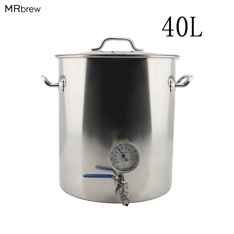 Stainless Steel 40L Beer Kettle Home Brewing Pot with Weldless Thermometer Ball Valve quick disconnects Accessories