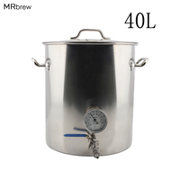 Stainless Steel 40L Beer Kettle Home Brewing Pot with Weldless Thermometer & Ball Valve quick disconnects Accessories DIY Kit