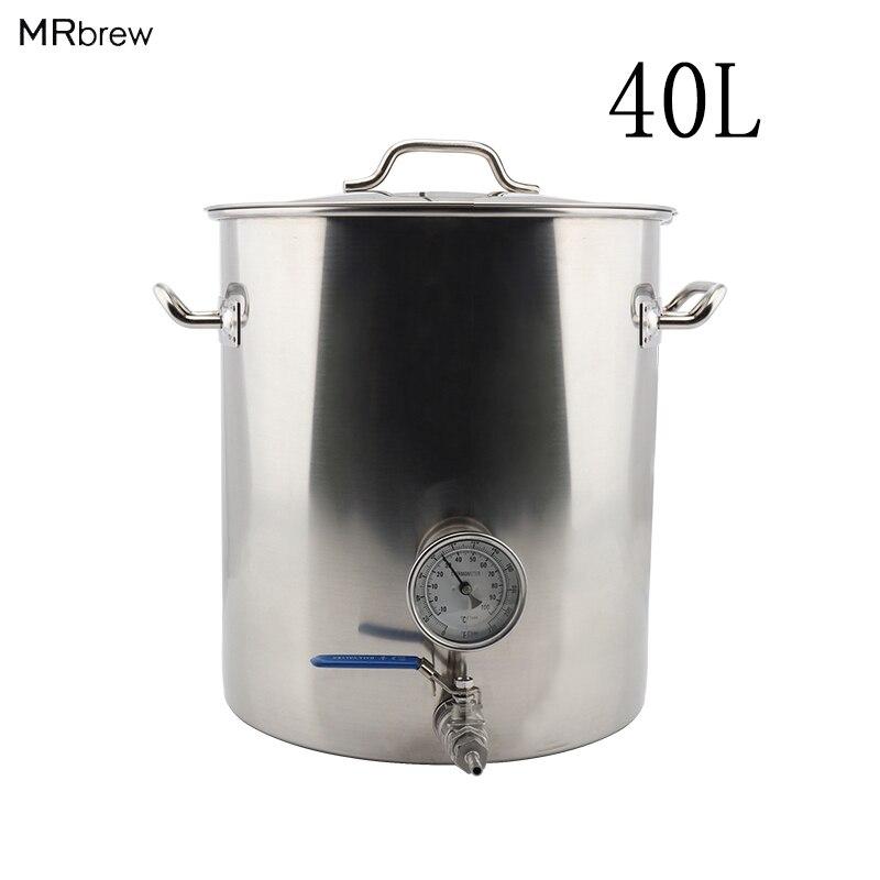 Ze stali nierdzewnej 40L piwa czajnik domowe warzelnictwo garnek z Weldless termometr i zawór kulowy szybkie rozłącza akcesoria DIY zestaw w Warzenie piwa od Dom i ogród na  Grupa 1