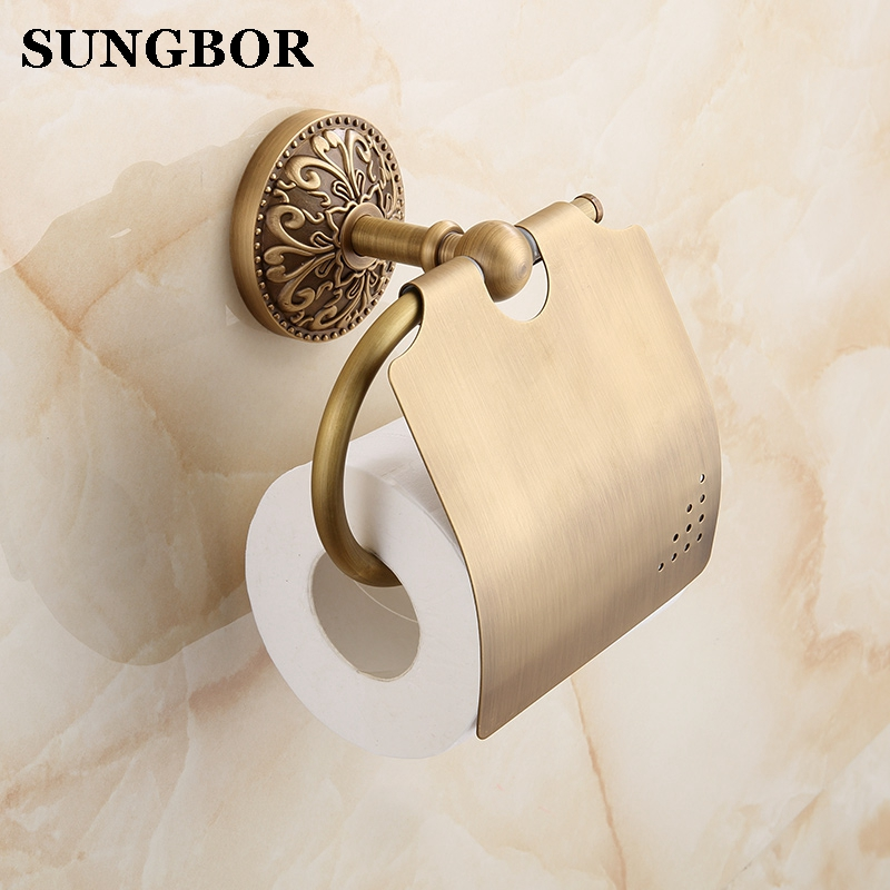 European Antique Brass Toilet Paper Holder Wall Mount