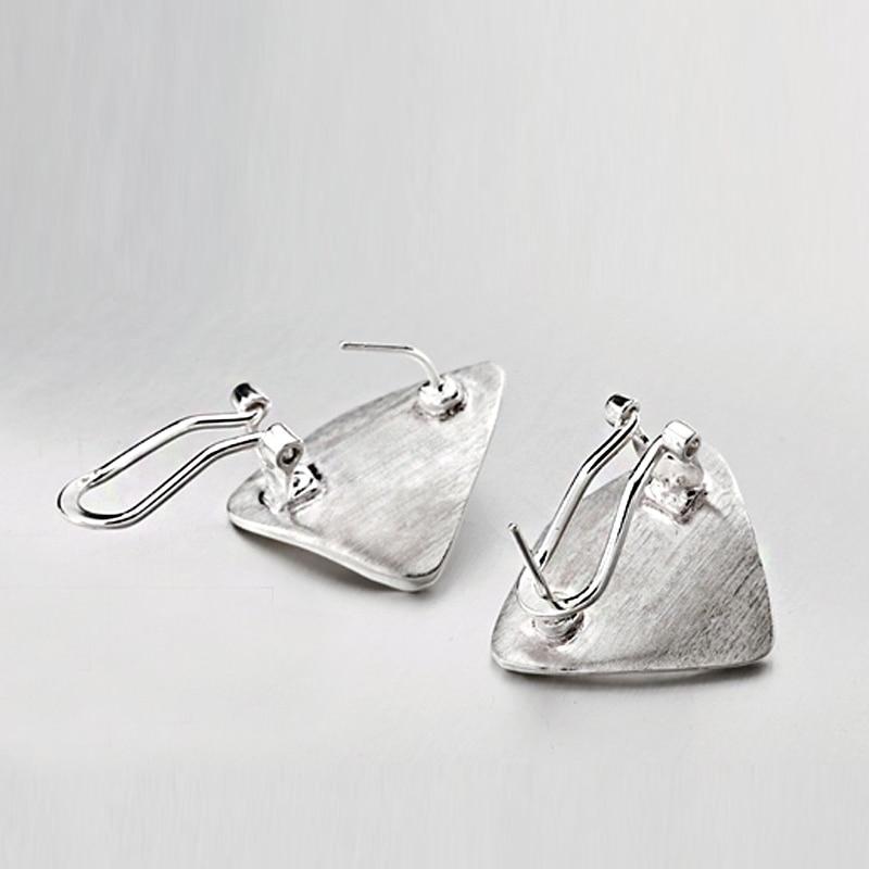 SA SILVERAGE 925 pendientes de la plata esterlina geométrica fiesta pendientes de joyería fina para las mujeres joyería fina 8,85g/25mm * 20mm - 4
