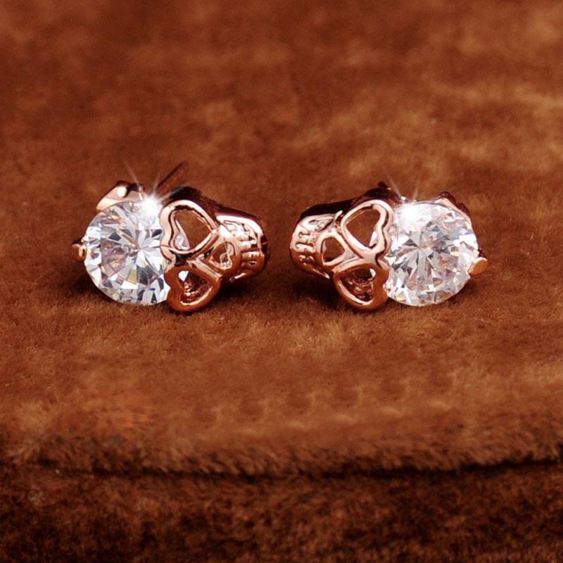 Skull Earrings CZ Stud Earrings Silver Diomand Crystal Skull Earrings for Womens mP8H6KJ6