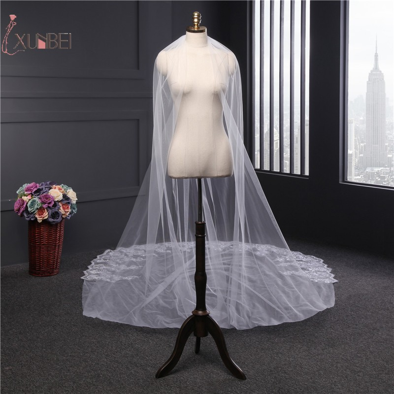 Voile Mariage White Ivory 1 Layer Long Cathedral Wedding Veil With Comb Sequins Bridal Veil Wedding Accessories Veu de Noiva
