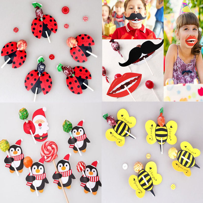 2018 New 50pcs Lot Lips Mustache Bee Ladybug Kids Lollipop