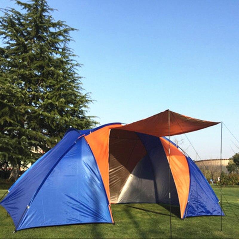 Outdoor Camping Große Zelt Doppel Schicht Wasserdicht Zwei Schlafzimmer 5 8 Person Reise Zelt Familie Party Angeln Zelt 420x220x175CM