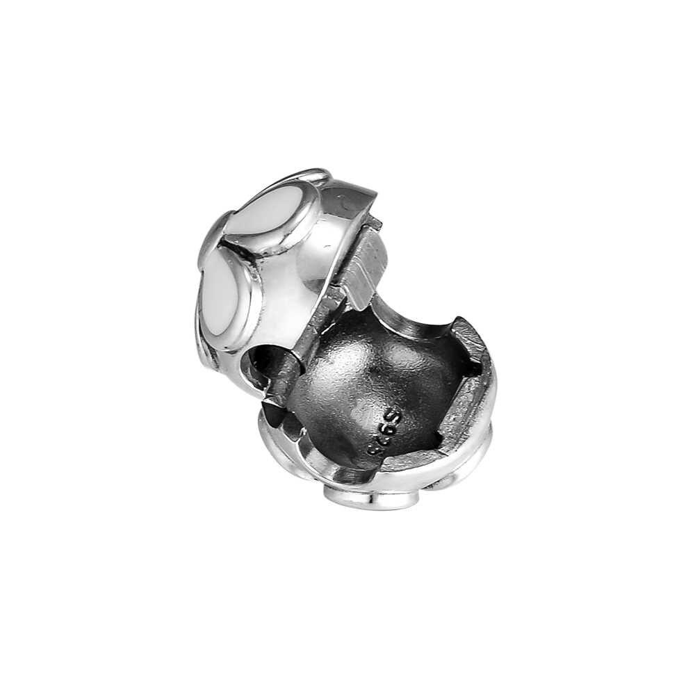 100% 925 Sterling Silver Putih Enamel Cherry Blossom Klip Beads untuk Perhiasan Membuat Cocok Wanita Pesona Perak 925 Asli Gelang