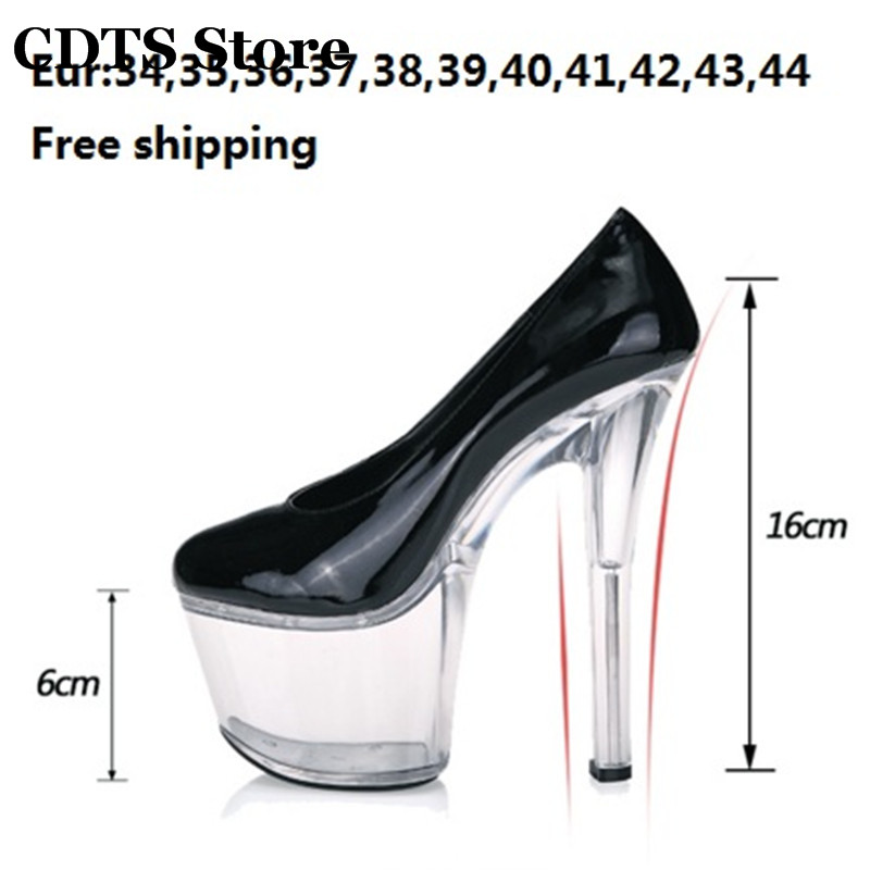 ФОТО CDTS:34-44 New arrival 2016 Spring women's shallow mouth low-top shoes sexy 16cm thin heels transparent platforms Party Pumps