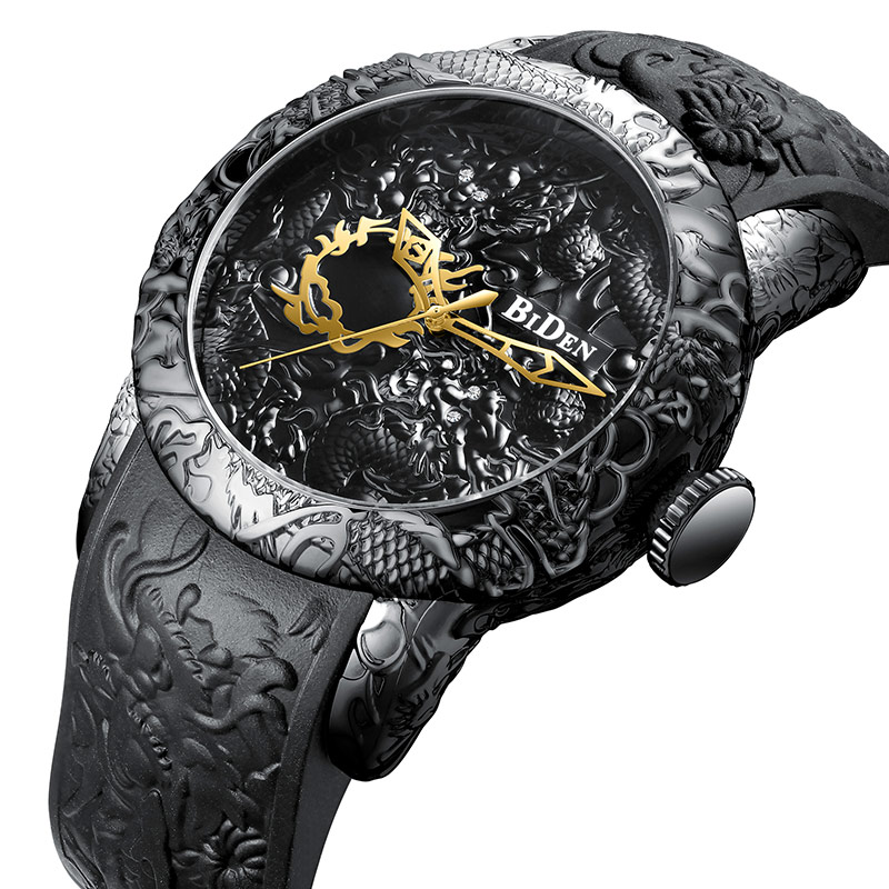 Black Watch For Men Dragon Carved Luxury Male Mens Big Dial Wrist Watch Famous Brand Cool Gold Military Sport Clock Waterproof orkina brand clock 2016 new luxury chronograph rose gold case black dial japan movement mens wrist watch cool horloges