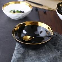 Hth Workshop Round White Black Ceramic Salad Bowl Gold