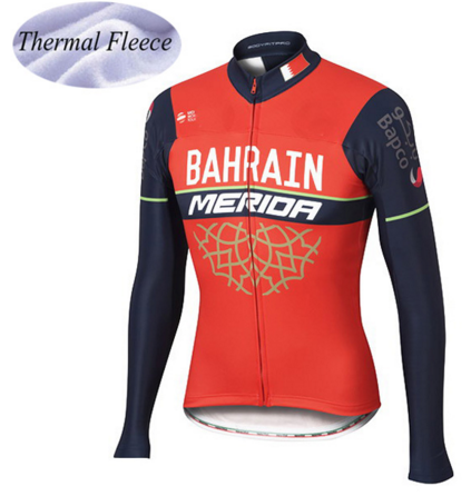 Red Mens Pro Team Long Sleeve Super Warm Winter Thermal Fleece Mountain Bike Cycling Jerseys Only Tops Pockets Riding clothes