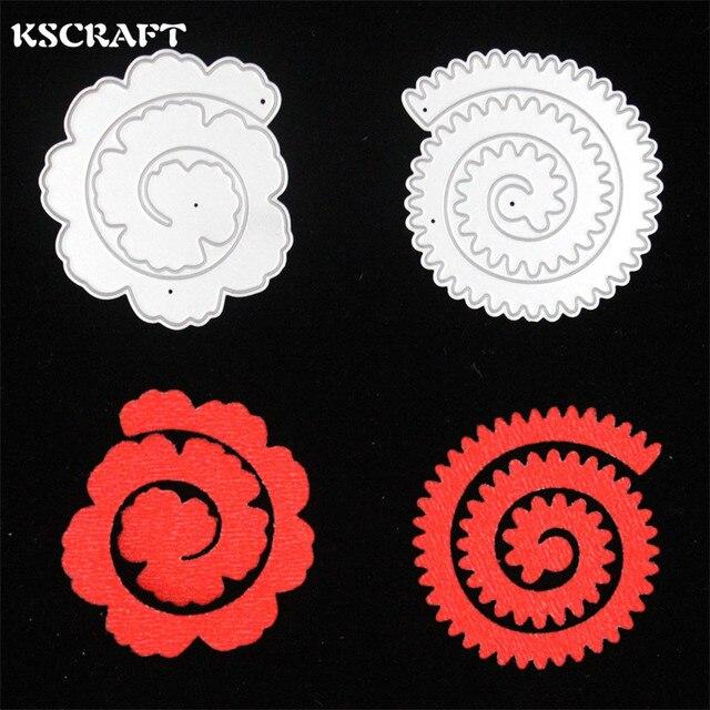 KSCRAFT 2 unid Flores scrapbooking carpeta de grabación en relieve de metal troquelado muere juego para máquina de corte