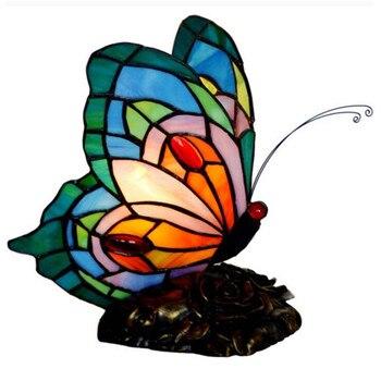 Creative coloré verre bleu papillon à la main Tiffany lampe de Table pour Foyer chambre Bar appartement décor veilleuse 1080
