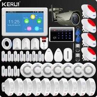 KERUI 7 นิ้ว TFT WIFI GSM Home Alarm Security Wifi IP กล้องแฟลชไซเรนผ้าม่าน PIR