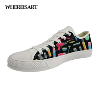 WHEREISART Fashion Women Vulcanize Shoes Cartoon Beauty Tool Pattern Low Style Canvas Shoes Woman Leisure Lacing Sneakers Girls