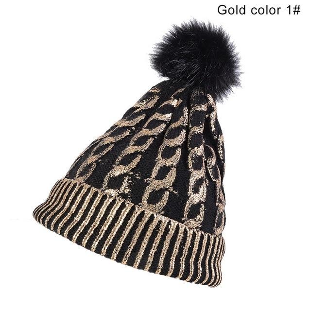 LITTHING Winter Hats For Women Girl 's Hat Knitted Beanies Cap Hat Thick Women Skullies Beanies Winter Brand Female Fur Poms Hat