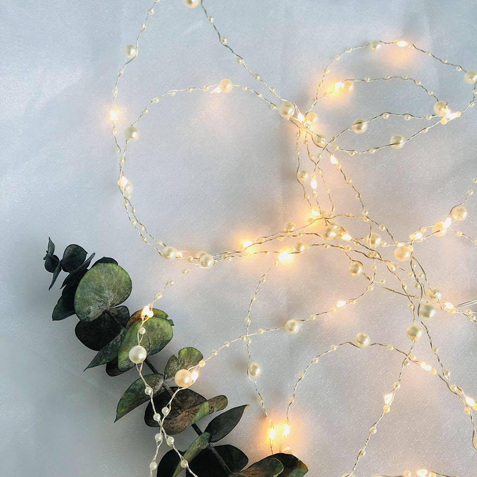Pearl Copper Wire Lights Powered By AA Battery,wedding Decoration Lights/Christmas/birthday Cake Decoration Lights,Night Light